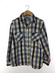 長袖シャツ/XL/コットン/BLU/チェック