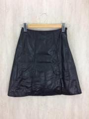 16AW/スリットレザースカート/1/羊革/BLK/0309AB31-0060