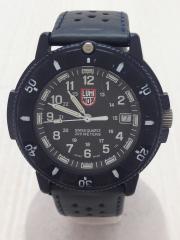 クォーツ腕時計/アナログ/3針/ラウンド/BLK/箱有