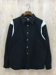 バック刺繍入り長袖ボーリングシャツ/M/コットン/BLK/DM16AU09-M005/ドゥニーム