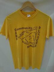 USED/70s/STEDMAN/地図/Tシャツ/M/コットン/YLW/MADE IN USA/ヨゴレ有