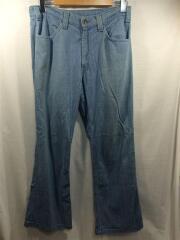 80s/ブーツカットパンツ/コットン/ブルー