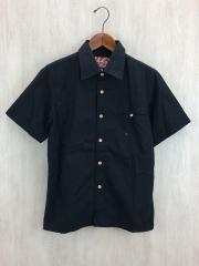 刺繍入り半袖シャツ/M/コットン/BLK