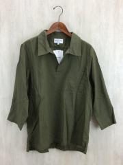 スキッパープルオーバーシャツ/BOXシルエット/長袖シャツ/L/ポリエステル/KHK