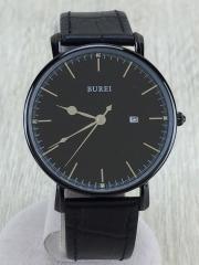 クォーツ腕時計/アナログ/BLK/BLK/BUREI/文字盤傷有
