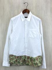 長袖シャツ/M/コットン/WHT/胸ポケットに汚れ有