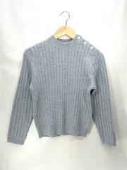 セーター(厚手)/S/ウール/GRY/無地/中古/古着/ニット/ハイゲージ/グレー/灰色