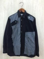 デザインシャツ/長袖シャツ/XS/コットン/BLK