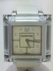 クォーツ腕時計/アナログ/レザー/GLD/WHT