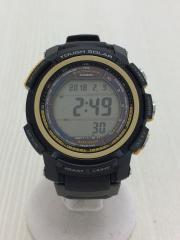 ソーラー腕時計/デジタル/レザー/GRY/BLK