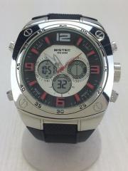 BISTEC/クォーツ腕時計/デジアナ/BLK/SLV