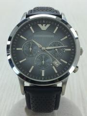 クォーツ腕時計/アナログ/レザー/SLV/AR2473/クロノグラフ/中古