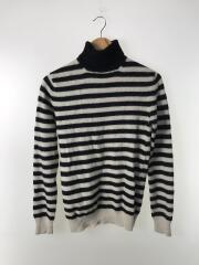 JK-N024/セーター(薄手)/ウール/ホワイト/ストライプ/中古