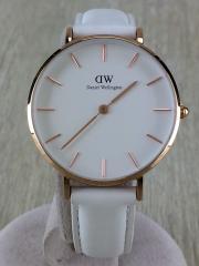 クォーツ腕時計/32mm/アナログ/レザー/WHT/WHT/ベルトにヨゴレ有