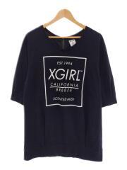 バックロゴプリントTシャツ/バックジップ/1/コットン/ブラック
