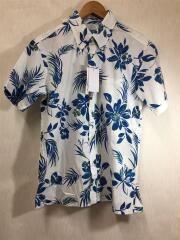 かりゆしシャツ/半袖シャツ/L/コットン/BLU
