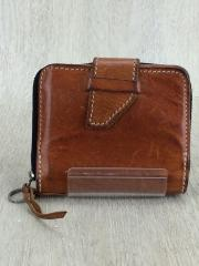 2つ折り財布/レザー/BRW/無地/メンズ