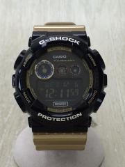 クォーツ腕時計/デジタル/--/BLK/GLD