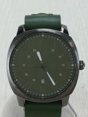 クォーツ腕時計/アナログ/レザー/GRN
