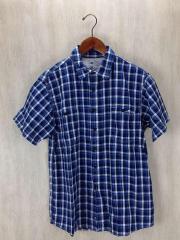半袖シャツ/L/コットン/BLU/チェック