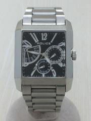腕時計/アナログ/ステンレス/BLK/SLV