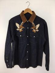 長袖シャツ/コットン/IDG/背タグ無し/イーグル刺繍シャツ