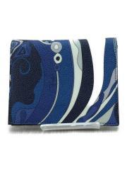 2つ折り財布/PVC/BLU