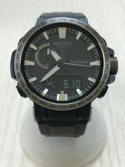 ソーラー腕時計・PROTREK/デジアナ/ラバー/BLK/BLK