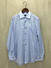 長袖シャツ/XL/コットン/BLU/ストライプ