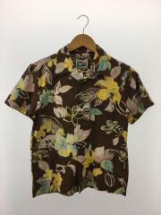 アロハシャツ/S/コットン/BRW/花柄