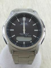 ソーラー腕時計/デジアナ/BLK/SLV