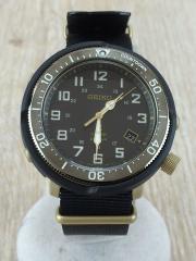 ソーラー腕時計/アナログ/ナイロン/BLK