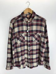 長袖シャツ/XL/コットン/RED/チェック