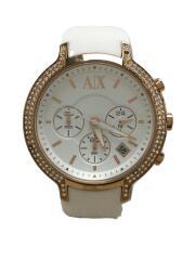 クロノグラフクォーツ腕時計/アナログ/ラバー/WHT/WHT/AX5063