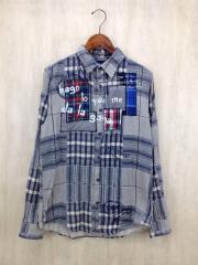 パッチワークシャツ/M/コットン/NVY