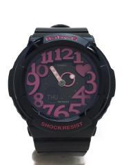 クォーツ腕時計/デジアナ/ラバー/BLK