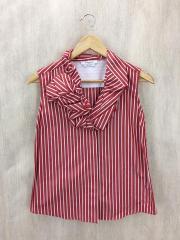 ノースリーブシャツ/38/コットン/RED/ストライプ