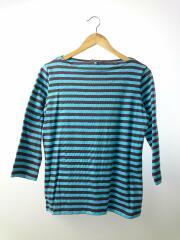 マリメッコ/七分袖Tシャツ/S/コットン/BLU/ボーダー