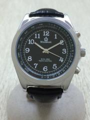 クォーツ腕時計/アナログ/フェイクレザー/BLK/BLK