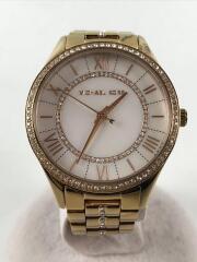 クォーツ腕時計/アナログ/ステンレス/WHT/GLD/MK-3716