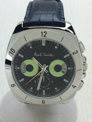 クォーツ腕時計/アナログ/レザー/NVY/NVY