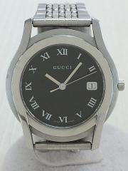 クォーツ腕時計/アナログ/ステンレス/BLK/SLV/3針