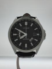 ソーラー腕時計/アナログ/レザー/BLK/BLK