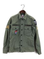 襟元汚れ有/M11A-06SH01C/ミリタリーシャツ/2/コットン/KHK/中古/USED