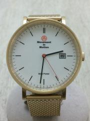 ソーラー腕時計/アナログ/WHT/GLD