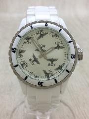 クォーツ腕時計/アナログ/WHT/WHT