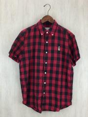 半袖シャツ/L/コットン/RED/チェック