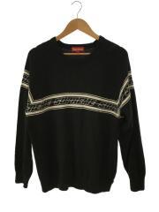 18SS/Striped Raglan Sweater/セーター(薄手)/ロゴ/M/コットン/BLK