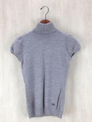 半袖セーター/タートルネック/38/ウール/GRY