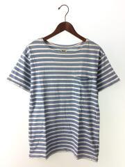 ポケットTシャツ/S/コットン/BLU/ボーダー
